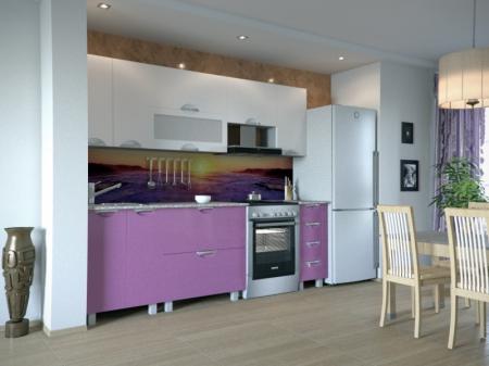 Кухонный гарнитур Мадена Бело-фиолетовый глянец