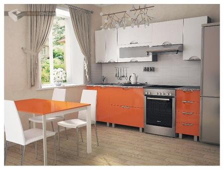 Кухонный гарнитур Мадена Бело-оранжевый глянец
