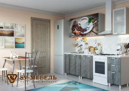 Кухонный гарнитур Кофе глянец с фотопечатью