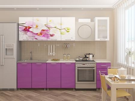 Кухонный гарнитур Орхидея МДФ фотопечать