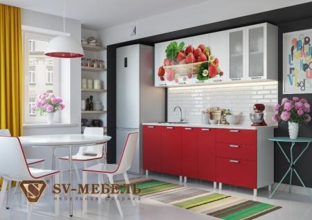 Кухонная мебель Клубника глянец с фотопечатью