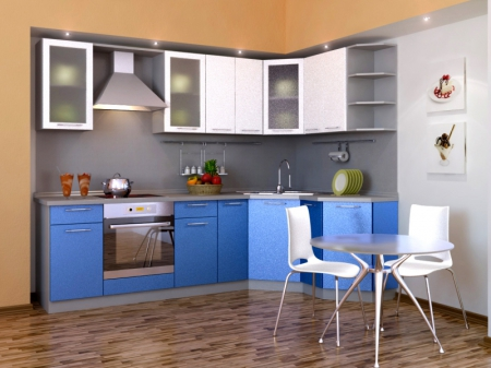 Кухонный гарнитур Фьюжн металлик синий-белый