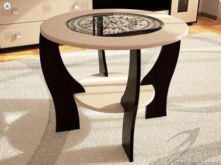 Журнальный столик с круглым стеклом
